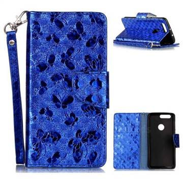 Luxury Laser Butterfly Optical Maser Leather Wallet Case for Huawei Honor 8 - Blue