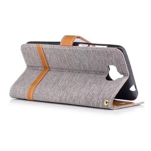 Jeans Cowboy Denim Leather Wallet Case for Huawei Y5 (2017) - Gray