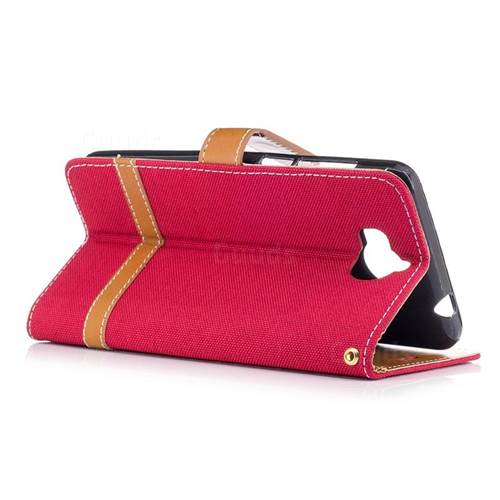 Jeans Cowboy Denim Leather Wallet Case for Huawei Y5 (2017) - Red