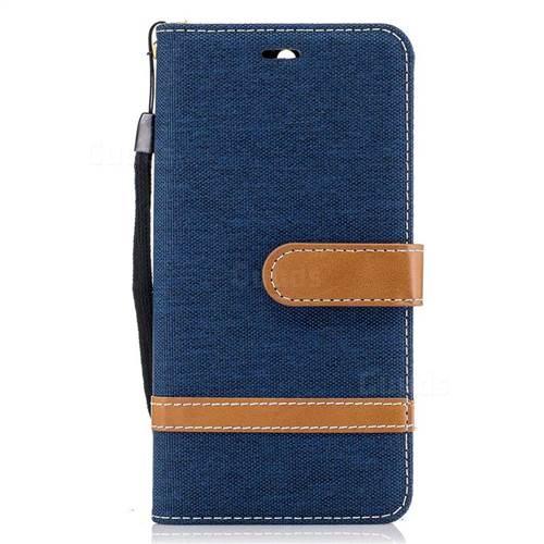 Jeans Cowboy Denim Leather Wallet Case for Huawei Y5 (2017) - Dark Blue