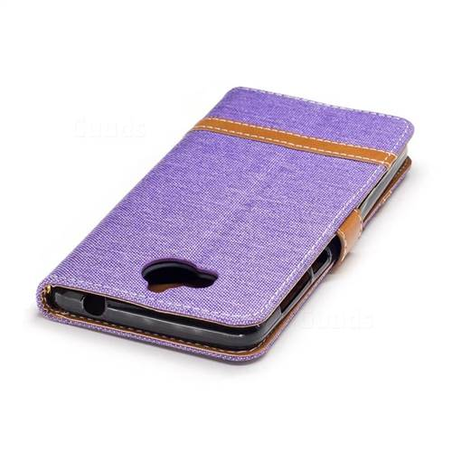 Jeans Cowboy Denim Leather Wallet Case for Huawei Y5 (2017) - Purple