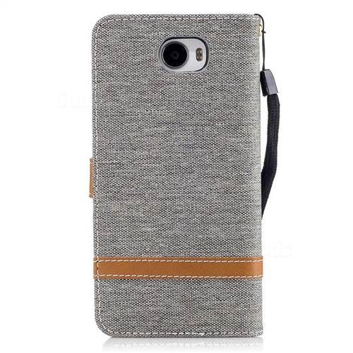 Jeans Cowboy Denim Leather Wallet Case for Huawei Y5II Y5 2 Honor5 Honor Play 5 - Gray