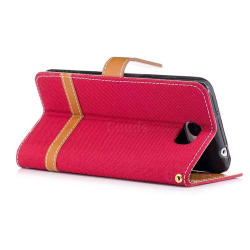 Jeans Cowboy Denim Leather Wallet Case for Huawei Y5II Y5 2 Honor5 Honor Play 5 - Red
