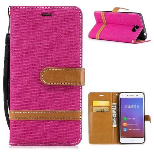 Jeans Cowboy Denim Leather Wallet Case for Huawei Y5II Y5 2 Honor5 Honor Play 5 - Rose
