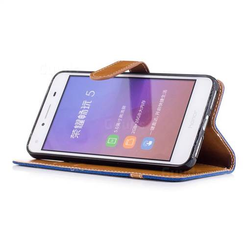 Jeans Cowboy Denim Leather Wallet Case for Huawei Y5II Y5 2 Honor5 Honor Play 5 - Sapphire