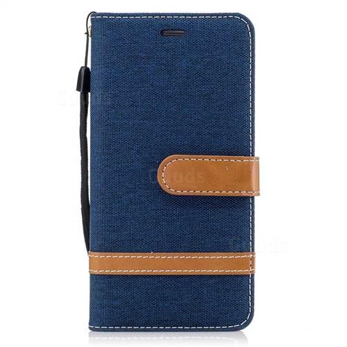 Jeans Cowboy Denim Leather Wallet Case for Huawei Y5II Y5 2 Honor5 Honor Play 5 - Dark Blue