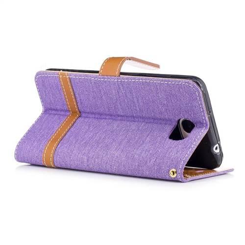 Jeans Cowboy Denim Leather Wallet Case for Huawei Y5II Y5 2 Honor5 Honor Play 5 - Purple