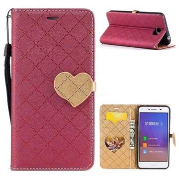 Symphony Checkered Dual Color PU Heart Leather Wallet Case for Huawei Y5II Y5 2 Honor5 Honor Play 5 - Red