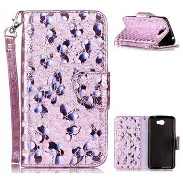 Luxury Laser Butterfly Optical Maser Leather Wallet Case for Huawei Y5II Y5 2 Honor5 Honor Play 5 - Purple