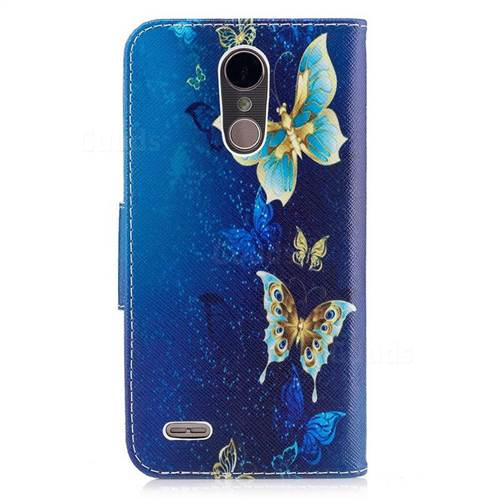 Golden Butterflies Leather Wallet Case for LG K10 2017