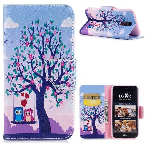 Tree and Owls Leather Wallet Case for LG K10 2017