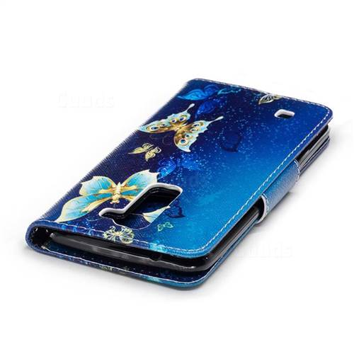 Golden Butterflies Leather Wallet Case for LG K8