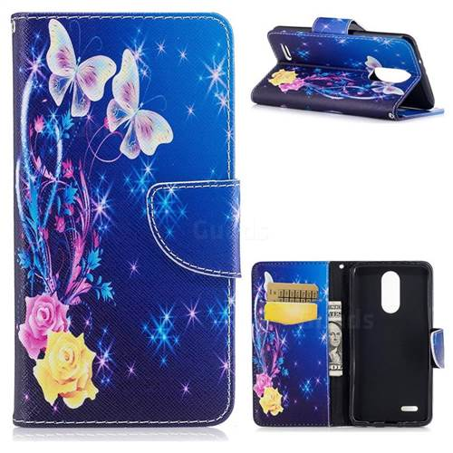 Yellow Flower Butterfly Leather Wallet Case for LG K8 2017