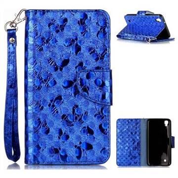 Luxury Laser Butterfly Optical Maser Leather Wallet Case for LG X Power LS755 K220DS K220 US610 K450 - Blue