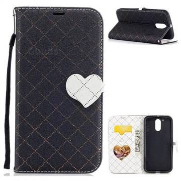 Symphony Checkered Dual Color PU Heart Leather Wallet Case for Motorola Moto G4 G4 Plus - Black