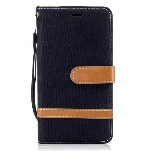 Jeans Cowboy Denim Leather Wallet Case for Motorola Moto G5 - Black