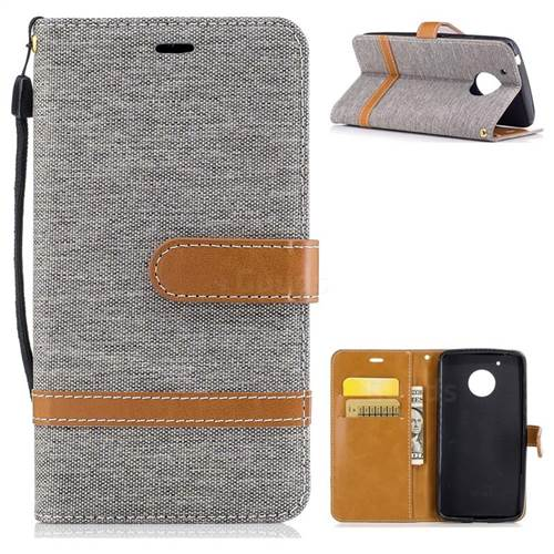 Jeans Cowboy Denim Leather Wallet Case for Motorola Moto G5 - Gray