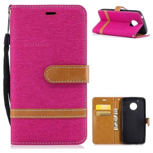 Jeans Cowboy Denim Leather Wallet Case for Motorola Moto G5 - Rose
