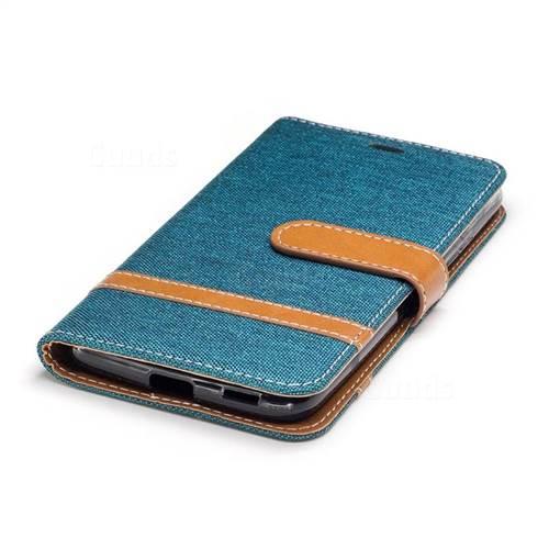 Jeans Cowboy Denim Leather Wallet Case for Motorola Moto G5 - Green