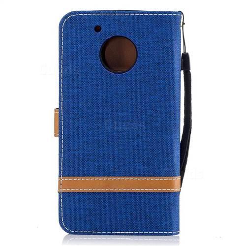 Jeans Cowboy Denim Leather Wallet Case for Motorola Moto G5 - Sapphire