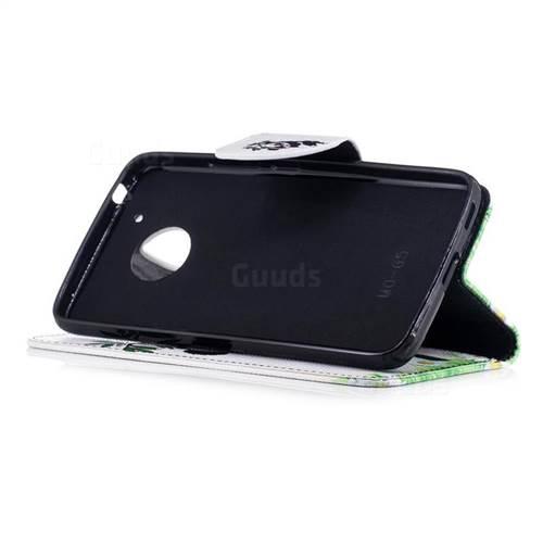Bamboo Panda Leather Wallet Case for Motorola Moto G5