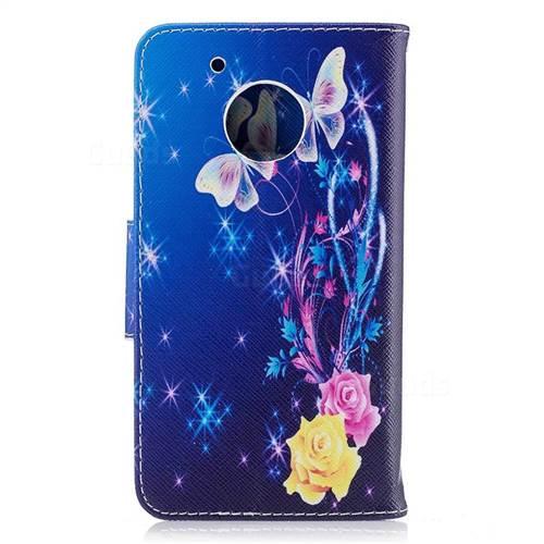 Yellow Flower Butterfly Leather Wallet Case for Motorola Moto G5