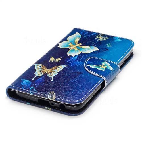Golden Butterflies Leather Wallet Case for Motorola Moto G5 Plus