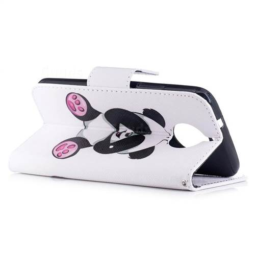 Lovely Panda Leather Wallet Case for Motorola Moto G6