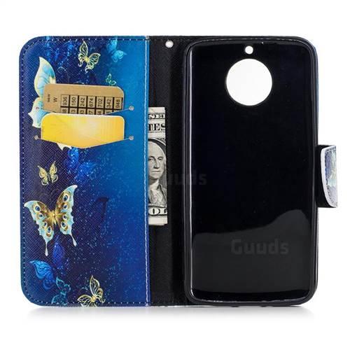 Golden Butterflies Leather Wallet Case for Motorola Moto G6