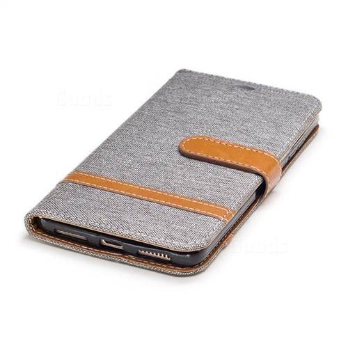 Jeans Cowboy Denim Leather Wallet Case for Huawei Mate9 Mate 9 - Gray