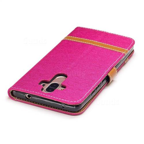 Jeans Cowboy Denim Leather Wallet Case for Huawei Mate9 Mate 9 - Rose
