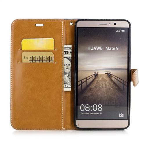 Jeans Cowboy Denim Leather Wallet Case for Huawei Mate9 Mate 9 - Dark Blue