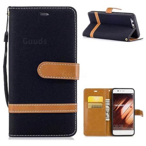 Jeans Cowboy Denim Leather Wallet Case for Huawei P10 - Black