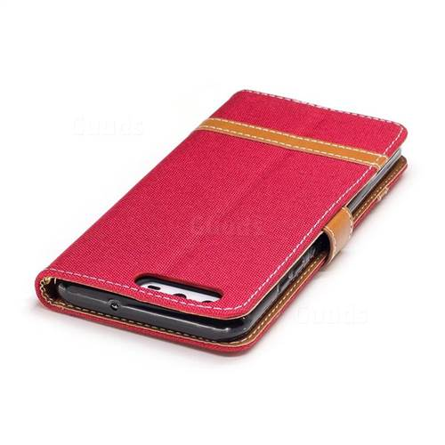 Jeans Cowboy Denim Leather Wallet Case for Huawei P10 - Red