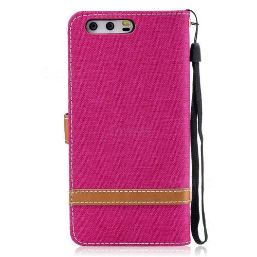 Jeans Cowboy Denim Leather Wallet Case for Huawei P10 - Rose