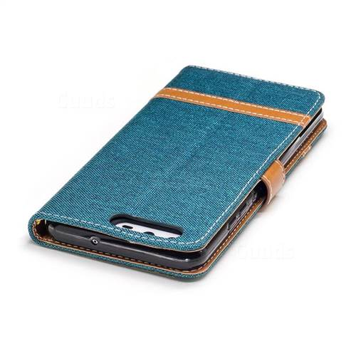 Jeans Cowboy Denim Leather Wallet Case for Huawei P10 - Green