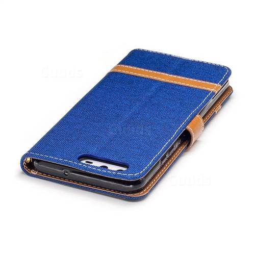 Jeans Cowboy Denim Leather Wallet Case for Huawei P10 - Sapphire