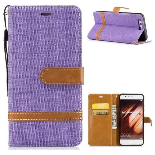Jeans Cowboy Denim Leather Wallet Case for Huawei P10 - Purple