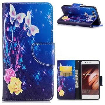 Yellow Flower Butterfly Leather Wallet Case for Huawei P10