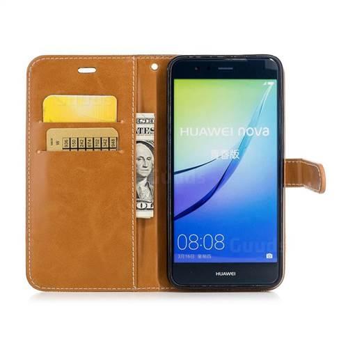 Jeans Cowboy Denim Leather Wallet Case for Huawei P10 Lite P10Lite - Black