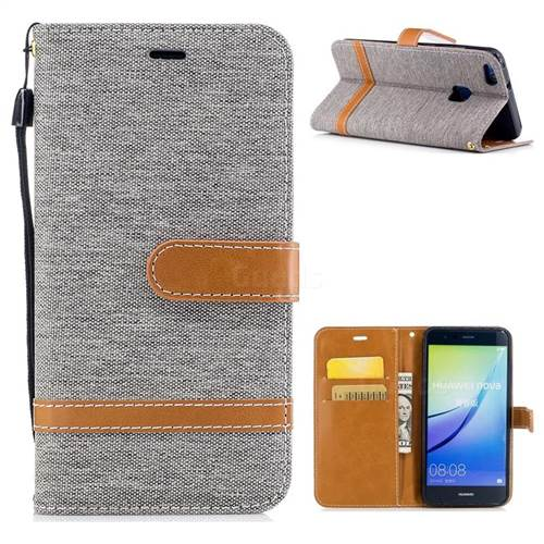 Jeans Cowboy Denim Leather Wallet Case for Huawei P10 Lite P10Lite - Gray
