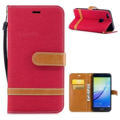Jeans Cowboy Denim Leather Wallet Case for Huawei P10 Lite P10Lite - Red