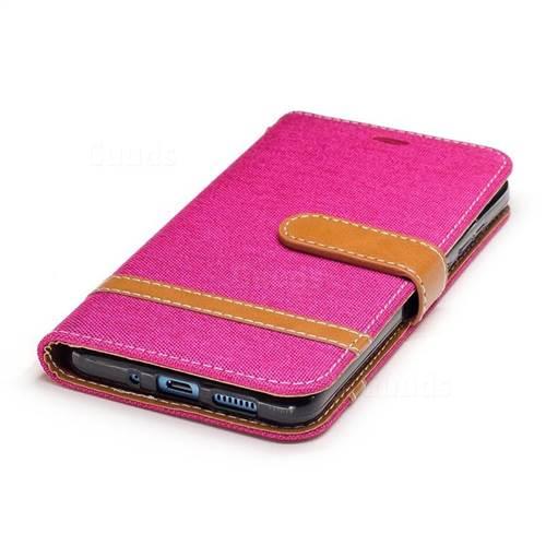 Jeans Cowboy Denim Leather Wallet Case for Huawei P10 Lite P10Lite - Rose