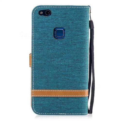 Jeans Cowboy Denim Leather Wallet Case for Huawei P10 Lite P10Lite - Green