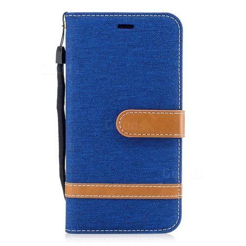 Jeans Cowboy Denim Leather Wallet Case for Huawei P10 Lite P10Lite - Sapphire