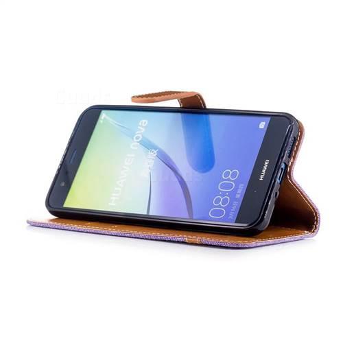 Jeans Cowboy Denim Leather Wallet Case for Huawei P10 Lite P10Lite - Purple
