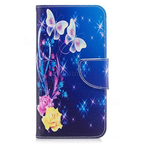 Golden Butterflies Leather Wallet Case for Huawei P10 Lite P10Lite