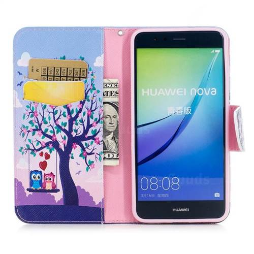Tree and Owls Leather Wallet Case for Huawei P10 Lite P10Lite