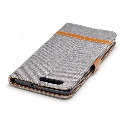 Jeans Cowboy Denim Leather Wallet Case for Huawei P10 Plus - Gray