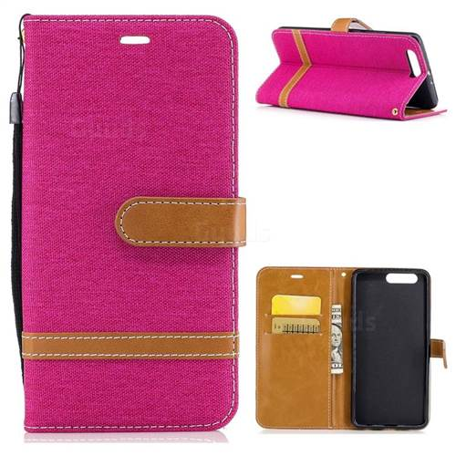 Jeans Cowboy Denim Leather Wallet Case for Huawei P10 Plus - Rose